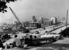 Finished strips of concrete roadways are taking shape in this area of freeway construction near Seventh Avenue and James Street on Sept. (Seattle Times Archive)