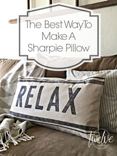 Sewing Pillows The Best Way To Make A Sharpie Pillow - You can use sharpie markers for practically everthing! Come see how easy it was to make a sharpie pillow that is stylish and lasts! Its the perfect farmhouse decor addition. Sewing Pillows, Diy Pillows, Decorative Pillows, Pillow Ideas, Handmade Pillows, Sofa Pillows, Couches, Sharpie Crafts, Sharpie Markers