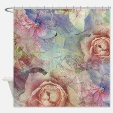 Vintage Pink and Blue Pastel Roses and Flowers Sho for