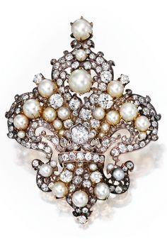 Belle Époque Pearl/Diamond Pendant/Brooch