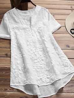 V Neck Patchwork Embroidery Blouses - Trendy Outfits Cheap Womens Tops, Embroidered Blouse, Blouse Styles, Short Sleeve Blouse, Lace Shorts, Ideias Fashion, Chiffon, Clothes For Women, Sleeves