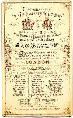 AG Taylor London  vintage photographic Studio Card