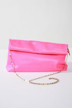 Neon Pink Leather Fold Over Bag | #USTrendy  www.ustrendy.com
