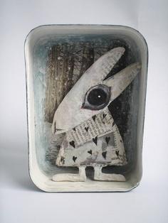 Colette Bain White Rabbit. Mixed Media. http://www.emmaswolf.com