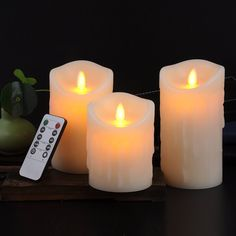 Bingolife Real Wax Drip Slim Flameless LED Pillar Candles with Remote Control and Timer * Read more  at the image link.