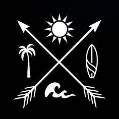 Sun Palm Tree Surf Waves with Crossed Arrows Vinyl Window Decal travel beach summer vacation sunshine holiday Ondas Tattoo, Sunshine Holidays, Tattoo Sonne, Tree Tattoo Back, Palm Tree Tattoos, Surf Tattoo, Crossed Arrows, Palm Trees Beach, Filipino Tattoos