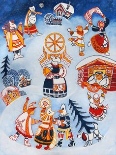 Original Culture Painting by Yulia Belasla Art Russian Folk Art, Ukrainian Art, Russian Style, A Christmas Story, Christmas Art, Ukrainian Christmas, Christmas Humor, Oil Painting On Canvas, Canvas Art
