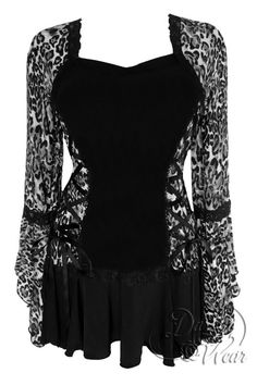 Dare To Wear  Bolero Corset Top in Silver Cheetah  animal print. Uniquely styled like a corset with a bolero jacket. Fine black lace outlines curvy silhouette of the faux corset.  Super-wide cascading sleeves. Flirty skirt flounce that skims the hips. Two side corset lace-ups and spaghetti ties create custom fit