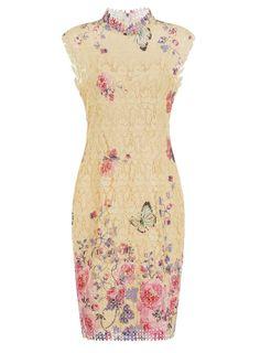 **Paper Dolls Lemon Crochet Print Dress