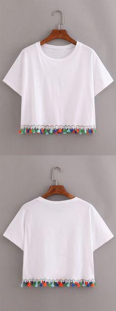 White Contrast Fringe T-Shirt: