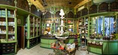 Ancient herbalist's shop at Plaza Real, Barcelona Spain