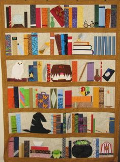 harry potter quilt- paper pieced by mom.  pattern by ofenjen Harry Potter Quilt, Harry Potter Nursery, Harry Potter Diy, Harry Potter Baby Clothes, Modern Quilt Blocks, Quilting Projects, Quilting Ideas, Quilt Stitching, Book Quilt
