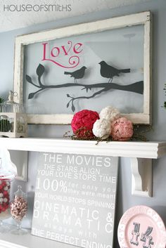 Valentines Day Decorations - mantle day decorations mantle Inspired Ways To Use Old Windows Deco Dyi, Window Art, Window Ideas, Window Frames, Window Picture, Picture Wall, Window Shelves, Window Glass, Picture Frames