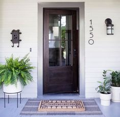 Brice Extra Large with Tall Modern Metal Plant Stand Exterior Door Hardware, Garage Exterior, Exterior Doors, Exterior Paint, Front Door Design, Entrance Design, House Front Door, Front Stoop, Modern Front Porches