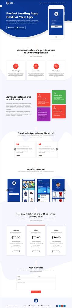 Eau is a clean and modern design #responsive bootstrap HTML #template for creative app landing page #website with 9 unique homepage layouts in 18 color options to download & live preview click on image or Visit 🡽 #websitedesign