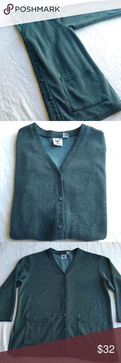 """Teal Gray Soft Knit Cardigan Hard to describe the beautiful stormy ocean blue-gray color of this soft and comfy cardigan!  Size 1X.  """"It's a beautiful day in the neighborhood!"""" Maggie Lawrence Tops"""