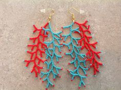 Coral reef seed beaded earrings. 4 inches by AnnesBeadedJewelry