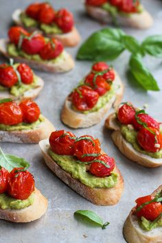 Roasted Tomato & Avocado Crostini…Take advantage of summertime produce by whipping up this healthy, easy appetizer! 52 calories and 1 Weight Watchers SmartPoint