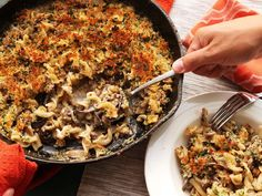 Crispy baked pasta with mushrooms and sausage, all in a cast iron pan!