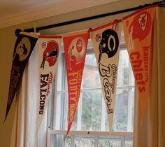 Football pennant window treatment for jesiahs room