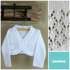White or Ivory baby sweater baby vest baby bolero Boy Christening Outfit, Christening Gowns Girls, Baptism Outfit, Baby Cardigan Knitting Pattern, Romper Pattern, Baby Knitting Patterns, Girls Sweaters, Baby Sweaters, Baby Bolero