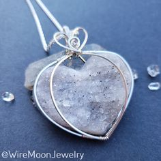 Moon Jewelry, Diy Jewelry, Druzy Quartz, Handmade Wire, Copper Bracelet, Sterling Silver Chains, Silver Necklaces, Necklace Lengths, Wire Wrapping