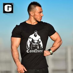 New Men's t-shirt Cotton short sleeve shirt Cartoon clothing muscle black letter printing jersey