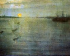 James McNeill Whistler — Nocturne Sun, Painting: oil on canvas. James Abbott Mcneill Whistler, Claude Monet, Nocturne, Abstract Landscape, Landscape Paintings, Sunset Paintings, Oil Paintings, Art For Art Sake, Oeuvre D'art