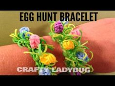 Rainbow Loom EGG HUNT Bracelet. Designed and loomed by Crafty Ladybug. Click photo for YouTube tutorial. 04/18/14. Rainbow Loom Tutorials, Rainbow Loom Patterns, Rainbow Loom Creations, Rainbow Loom Bands, Rainbow Loom Charms, Crazy Loom Bracelets, Loom Band Bracelets, Loom Bracelet Patterns, Rainbow Loom Bracelets