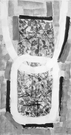 Jean Paul Riopelle, F. DE, 1971, acrylique sur lithographie marouflée sur toile, 86 x 45 cm