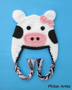 Beanie Hat Crochet croche Cow animal - Touca Gorro crochê vaca vaquinha - by Philae Artes
