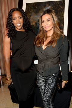 Expectant mother Kelly Rowland and Beyoncé's mom Tina Knowles connect at a dinner in West Hollywood, Calif., on July 15