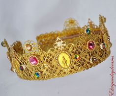 New-Roman-D-G-Crown-Headband-Swarovski-24-k-Gold-Pink-Coins-Bride-Tiara-Wedding