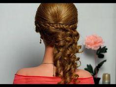 ▶ Романтическая прическа с плетением для длинных волос. Romantic hairstyle with braids - YouTube