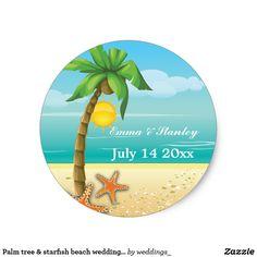 Palm tree & starfish beach wedding Save the Date Classic Round Sticker