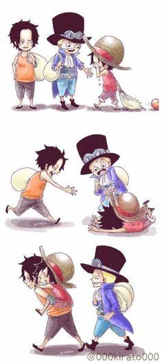 Luffy x Sabo x Ace - One Piece One Piece Anime, One Piece Comic, Sabo One Piece, One Piece Episodes, Ace Sabo Luffy, Watch One Piece, One Piece Funny, One Piece Images, Monkey D Luffy