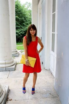 Red, yellow, blue love the bag, outfit, fashion, style