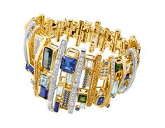 Chow Tai Fook, Halcyon bracelet, rectangular crystal slices, aquamarines, lapis lazuli, sapphires and yellow diamond cubes are set in 18K yellow gold.