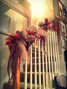 Finished our banister!  Burlap & Garlands