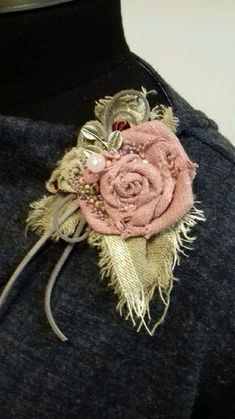 "Buy or order the Boho brooch ""Heather"" in the … – Crafts Ideas Denim Flowers, Burlap Flowers, Shabby Flowers, Leather Flowers, Lace Flowers, Felt Flowers, Fabric Flower Necklace, Fabric Flower Pins, Fabric Flower Brooch"