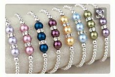 Gorgeous bracelet idea 4mm silver spacer beads, 6mm silver spacer beads, 10mm pearl beads, 10mm rhinestone spacers, beading elastic