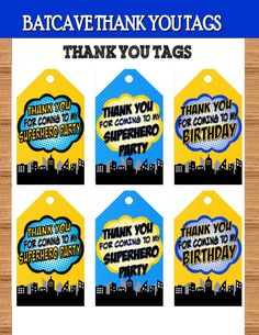 SUPERHERO Party- COMIC Hero Party- Superhero Birthday- Superhero THANK YOU TAGS