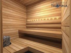 3D-sisustussuunnittelu / sauna, lämpökäsitelty haapa seinässä ja lauteissa, kuituvalaistus, harvian kiuas/ 3D-sisustus Tilanna, sisustussuunnittelija Sauna, Baths, Blinds, Stairs, Bathroom, House, Design, Home Decor, Turkish Bath