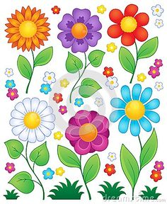 Illustration about Cartoon flowers collection 3 - vector illustration. Illustration of leaf, isolated, nature - 37698226 Cartoon Drawings, Art Drawings, Plant Drawing, Drawing Flowers, Painting Flowers, Art Flowers, Flowers Garden, Spring Flowers, Paper Flowers