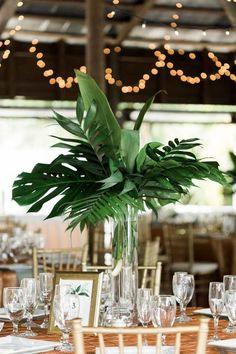 Large palm wedding centerpiece for Tropical Paradise Cove Wedding Tropical Wedding Centerpieces, Tropical Wedding Reception, Palm Wedding, Wedding Flower Arrangements, Flower Centerpieces, Floral Wedding, Wedding Flowers, Wedding Decorations, Centerpiece Ideas