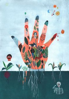 """Ilustración de Marta Slawinska.  Me recuerda inevitablemente a """"La Mano Vidente"""" de La historia interminable."""