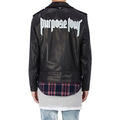 "Purpose Tour XO Barneys New York Men's ""Purpose Tour"" Leather Moto Jac ($1,695) ❤ liked on Polyvore featuring men's fashion, men's clothing, men's outerwear, men's coats, mens leather coats, mens rider jacket, mens biker jacket and mens moto jacket"