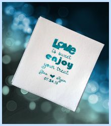 wedding napkins bridal shower napkins Love Is Sweet Enjoy Your Treat! Every detail matters at a wedding reception. Personalized beverage napkins are the least expensive thing you can do yet serves a useful purpose while adding color to your table decor. $40.00 per 100