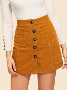 To find out about the Button Front Corduroy Skirt at SHEIN, part of our latest Skirts ready to shop online today! Girly Outfits, Mode Outfits, Skirt Outfits, Dress Skirt, Fall Outfits, Casual Outfits, Fashion Outfits, Women's Casual, Womens Fashion