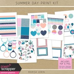 Summer Day Print Kit Say Hello, Shades Of Blue, Summer Days, Crafting, Kit, Prints, Craft, Artesanato, Classroom Crafts